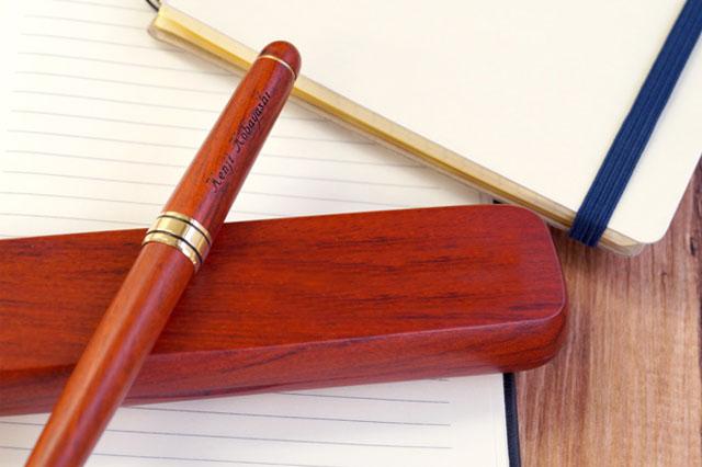 木製万年筆&ペンケースギフトセットローズウッド