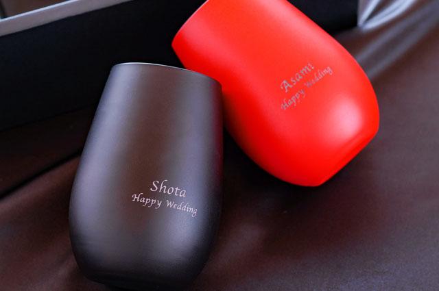 名入れ メタルカラーグラス460ml黒赤ペアセット
