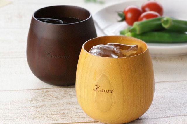 名入れ 木製エッグカップなつめペアセット