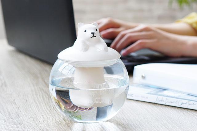 かわいい動物型の卓上陶器加湿器