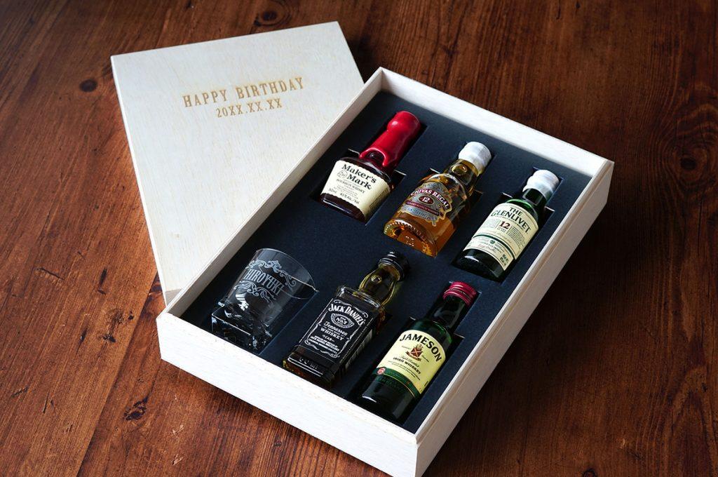 ウイスキーミニチュアボトル5種 & グラスギフトセット