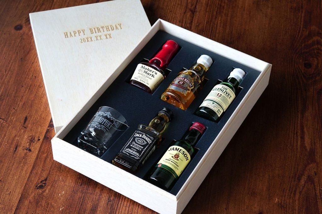 ウイスキーミニチュアボトル&名入れグラス ギフトセット