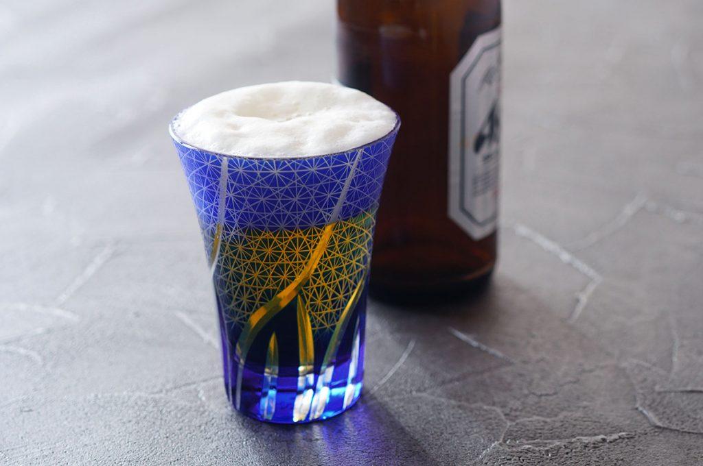 切子ビールグラス菊つなぎ模様