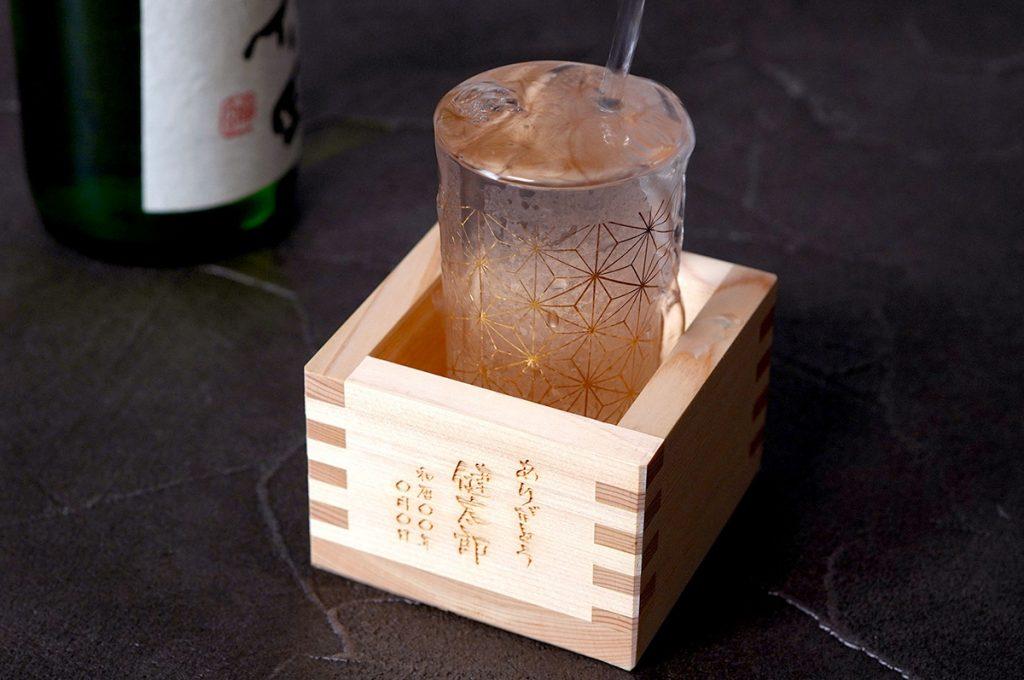 和小紋グラスと枡のこぼれ酒セット